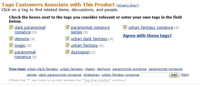 Liking Book Tags on Amazon